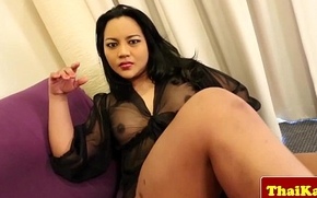 Busty asian tranny in underclothes wanking