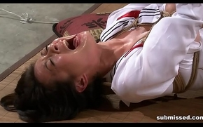 Asian concomitant is hogtied, electro agonizing together with dildo punished