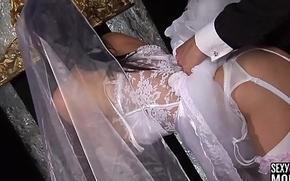 Roasting bride receives a hard fuck