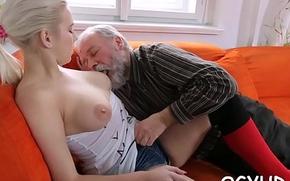 Skillful old guy slams juvenile pussy