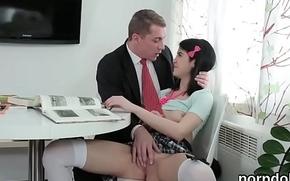 Pretty schoolgirl was seduced and screwed by her older schoolteacher