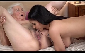 Indelicate granny receives wet apart from a younger unfocused