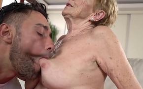 Saggy granny Mugur Malya receives facial after plowing