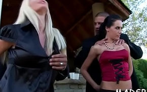 Sexy with an increment of horny sweethearts rate moist enjoyment in gangbang chapter